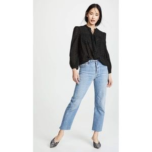 Madewell Eyelet Double Tie Peasant Blouse Black